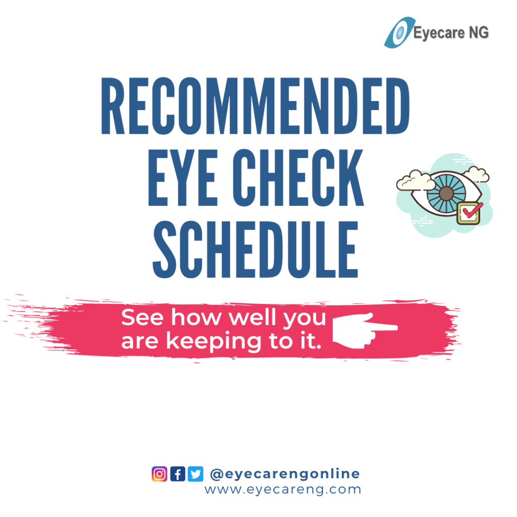 Recommended eye check schedule
